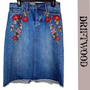 Driftwood denim embroidered floral distressed raw